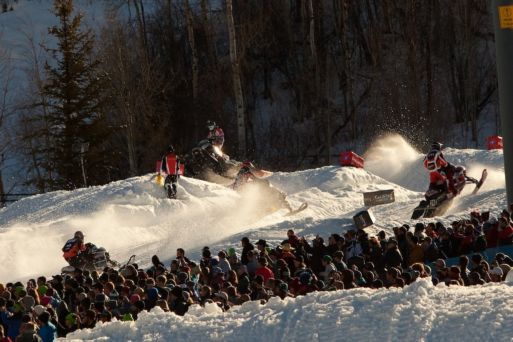 The rhythm section of the snocross race. - ©Jeremy Swanson