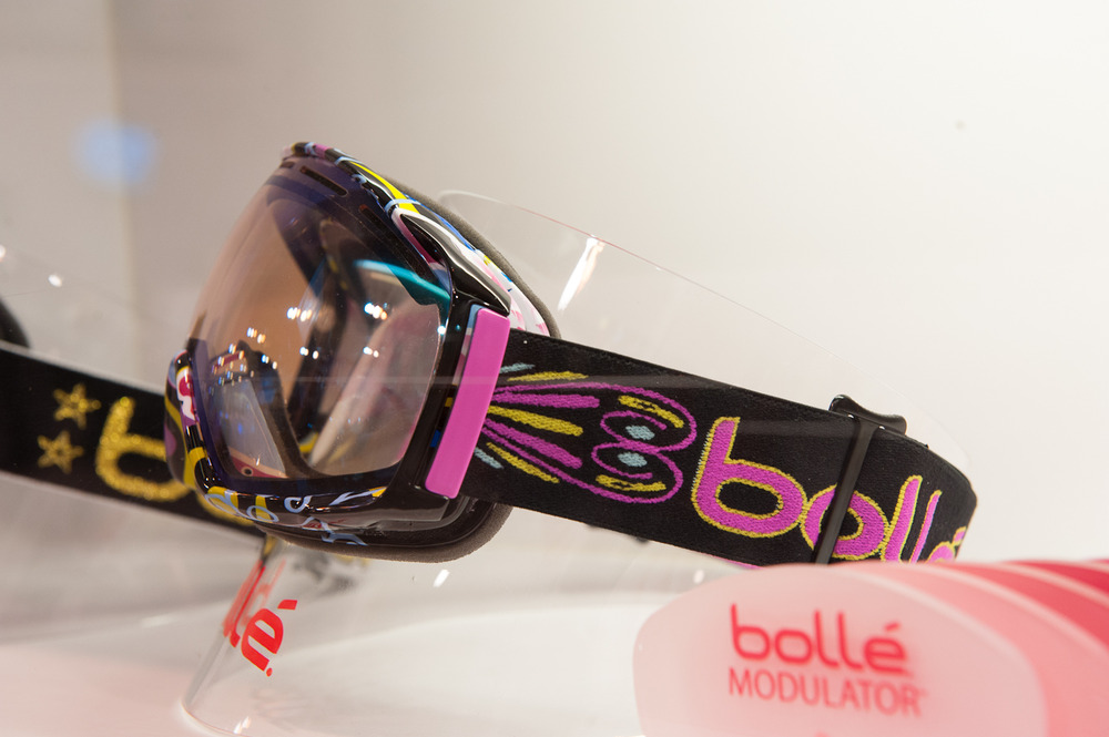 Bollé's new athlete line comes with a limited edition box, bag, bandana and features some great graphics. It comes with a Gravity Lens and two modulator lenses that adjust to light. This goggle is Lindsey Jacobellis's signature goggle. - © Ashleigh Miller Photography