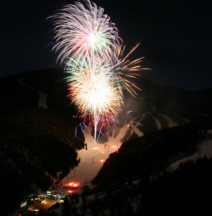 Red Lodge Mountain Winter Carnival culminates with a torchlight parade and fireworks. Photo courtesy of Red Lodge Mountain.