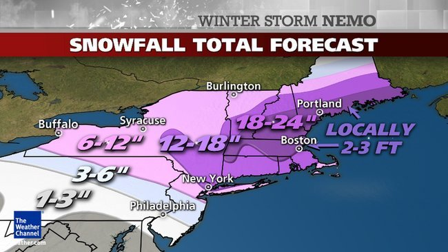The projected snow totals from Winter Storm Nemo. - © The Weather Channel