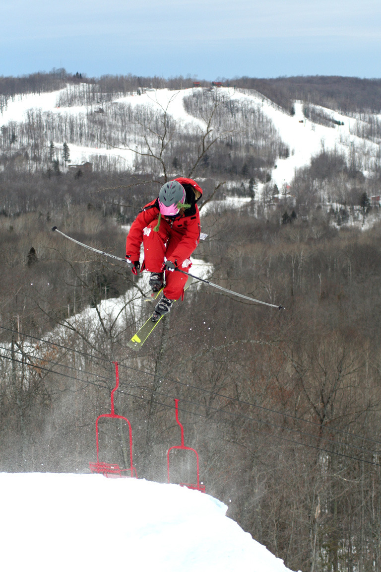 A skier gets big air in Indianhead Mountain, Michigan