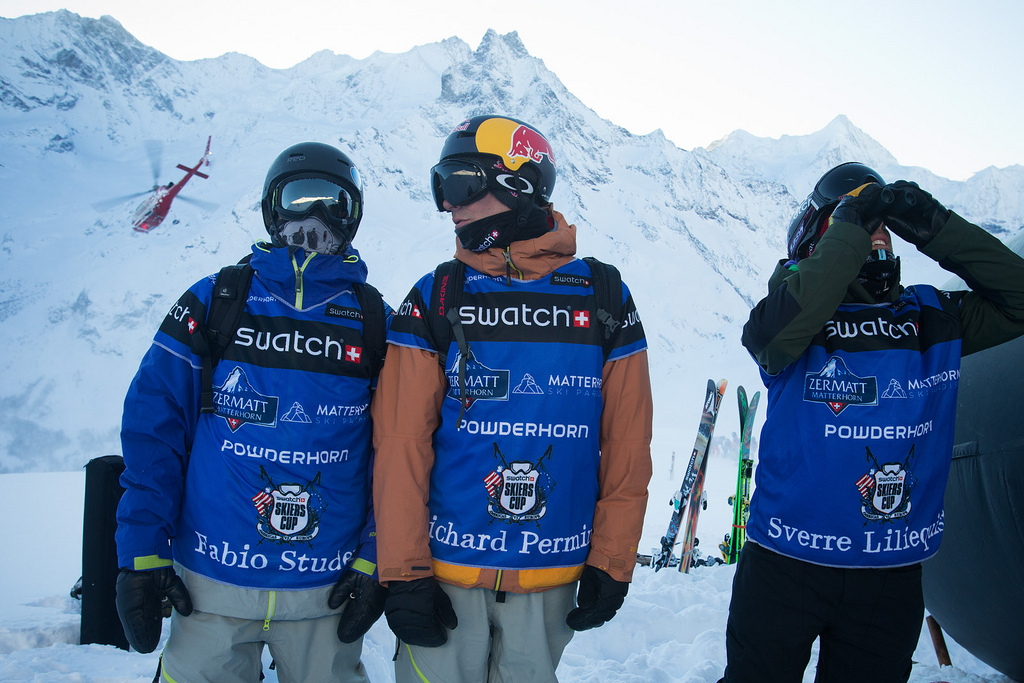 Sverre Liliequist, Richard Permin and Fabio Studer of Team Europe scout lines before the competition. - © D.Daher/swatchskierscup.com