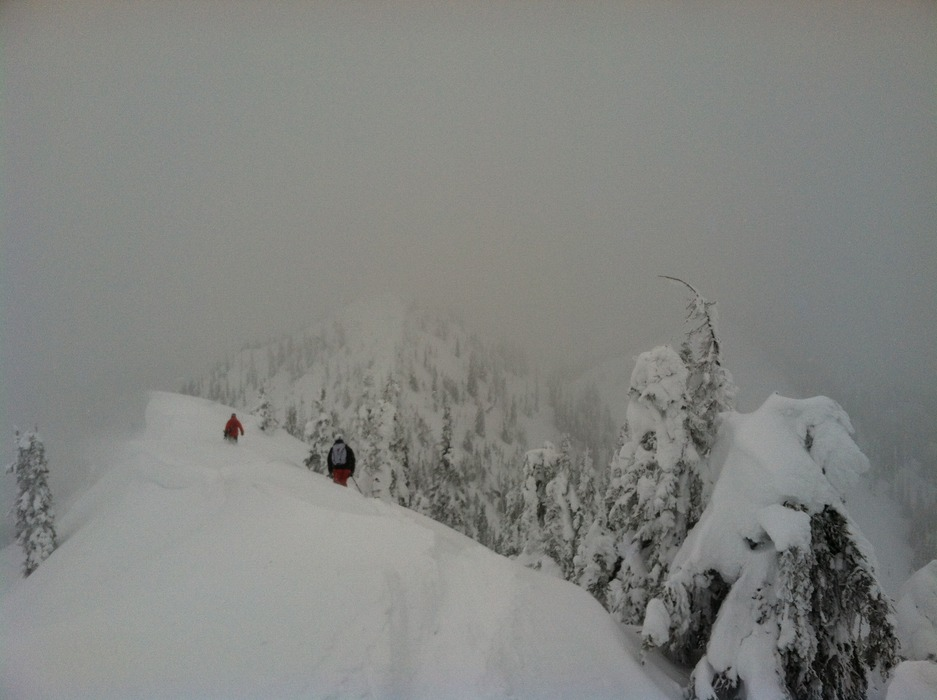 Just a bit of hiking begets untouched bowl skiing at Baldface Lodge. - © Meg Olenick