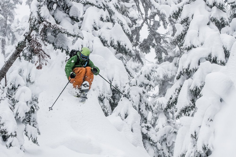 Giffin comes out of the trees at Mt. Baker. - © Liam Doran