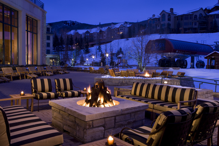 The outdoor fireplace at the Park Hyatt Beaver Creek Resort and Spa. - © Park Hyatt Beaver Creek Resort and Spa