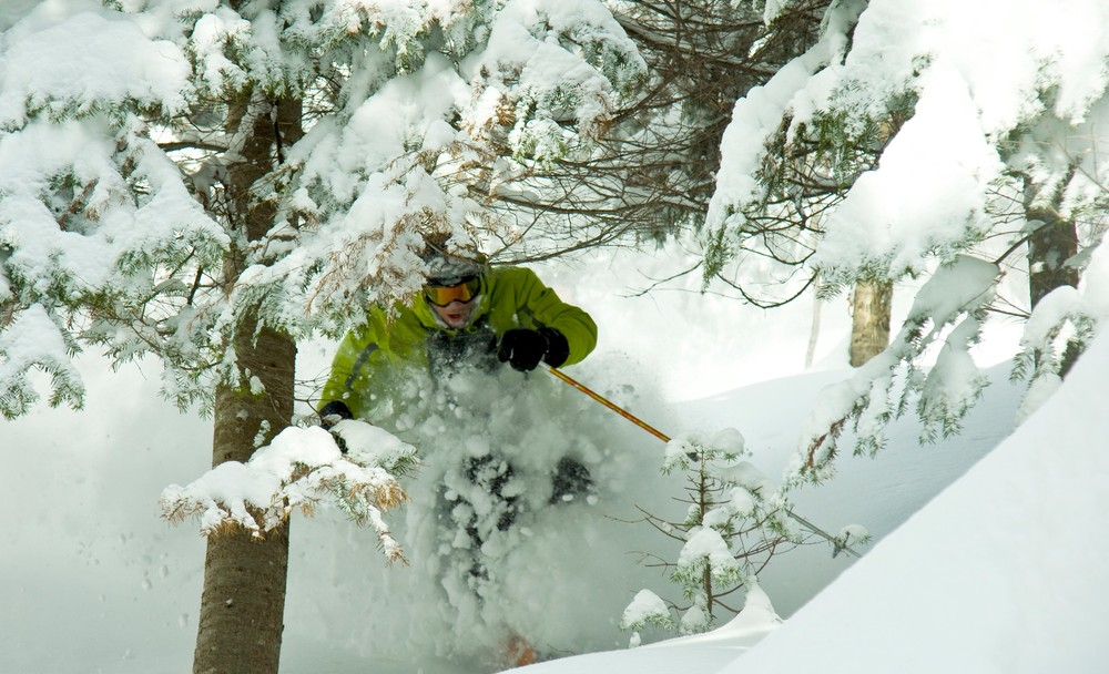 Powder skiing in Quebec.