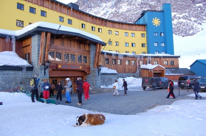 Radka, the hotel's Saint Bernard, in a typical position in front of the Hotel Portillo. - © Cindy Hirschfeld