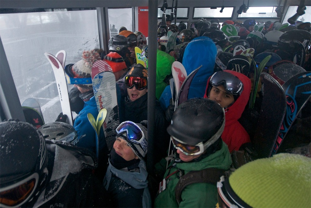 Jackson Hole Tram filled with satisfied customers. Photo By Chris Figenshau