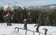 A skier performs a trick on a rail at Bear Valley Mountain Resort, California