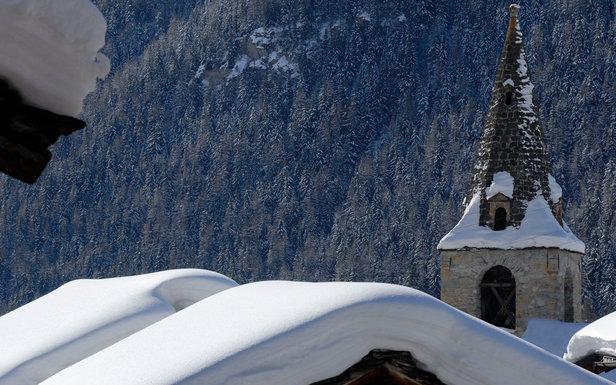 Le village d'Evolène sous la neige...