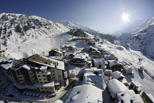 Looking down over a snow-covered Obergurgl village centre