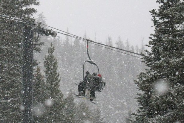 Visitors on a chairlift November 29, 2008 at Winter Park, CO.