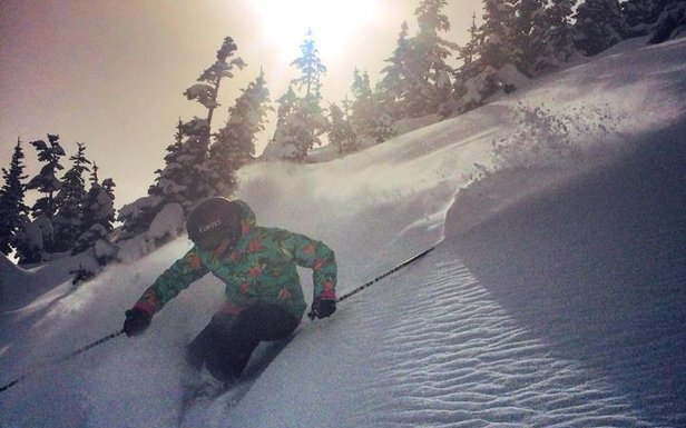 Ingrid Backstrom captures sunshine and powder at Crystal Mountain Resort.