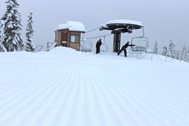 Packed powder corduroy greeted skiers on groomed runs at Brundage Mountain's opening weekend.  - © Brundage Mountain