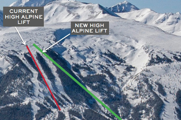 Aspen Skiing Company will replace and realign the High Alpine lift on Snowmass for the 2015/2016 ski season.