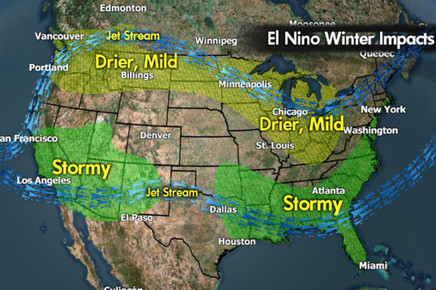 Meteorologist Chris Tomer's North American El Niño predictions for the 2015/2016 ski season.
