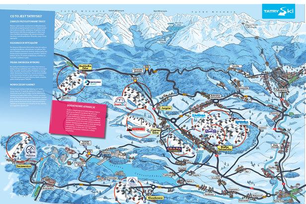 Mapa ośrodków wchodzących w skład karnetu TatraSki  - © Ski Bachledka
