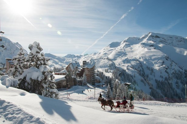 Horse-drawn sleigh in car-free Avoriaz, France