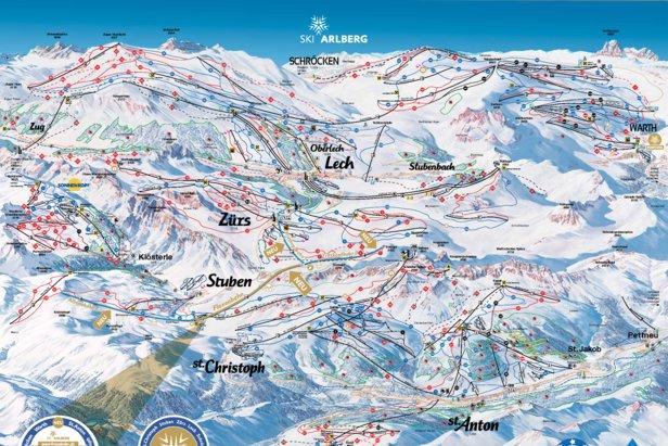 Mapka tras Ski Arlberg na sezon 2016/17
