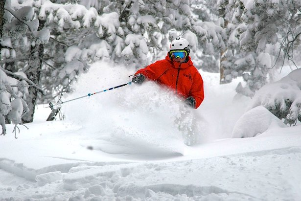 A skier sinks into powder at Eldora Mountain Resort in Colorado.