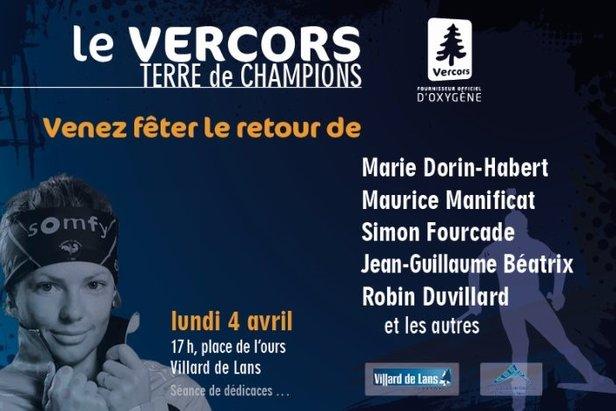 Rendez-vous le 4 avril de 17 à 19h à Villard de Lans sur la Place de la Libération (place de l'ours), pour fêter le retour de tous les grands champions du Vercors.