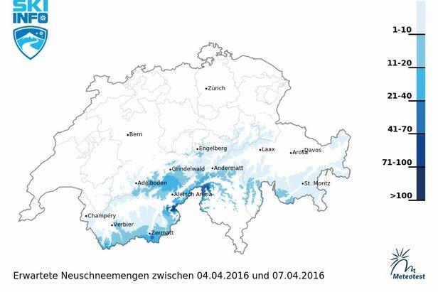Schneebericht für die Schweiz (04.04.): Zunächst Föhn und Schneeschmelze, am Wochenende nochmal Schnee ©skiinfo | meteotest