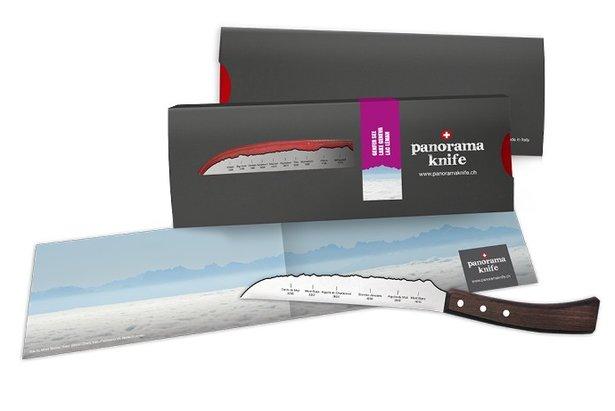 Couteau universel PanoramaKnife dont la lame dessine le panomara du Mont-Blanc