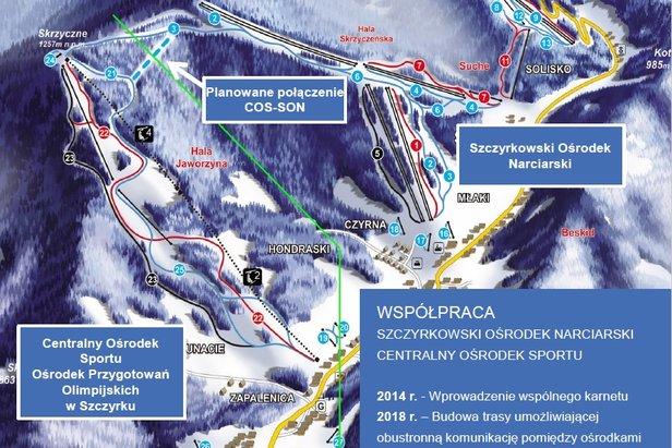W 2018 r.  COS i SON w Szczyrku ma połączyć nowa trasa umożliwiająca obustronną komunikację pomiędzy ośrodkami. Będzie to druga co do wielkości stacja narciarska w Polsce, Słowacji czy Czechach.  - © TMR