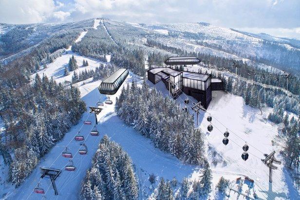 Szczyrk: górna stacja nowej 10-osobowej gondoli na Hali Skrzyczeńskiej  (wizualizacja), I etap modernizacji Szczyrkowskiego Ośrodka Narciarskiego