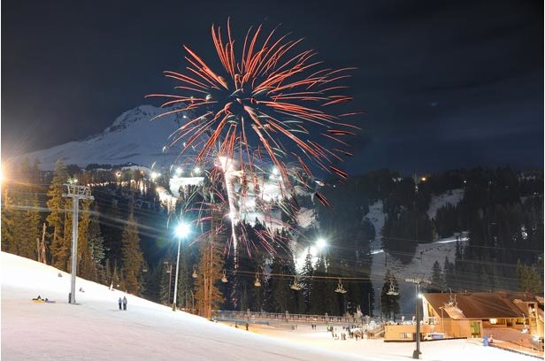 Fireworks explode above Mt. Hood Meadows during the New Year's Eve celebration