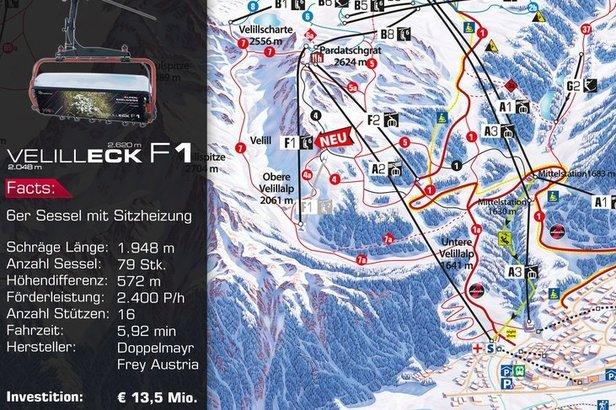 Nová Velilleckbahn na mapě střediska  - © Silvretta Arena AG