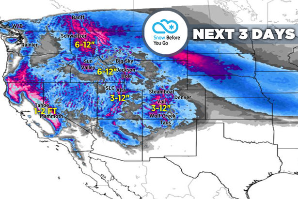 Up to 3 Feet by Saturday for Colorado: 2.14 Snow B4U Go ©Meteorologist Chris Tomer