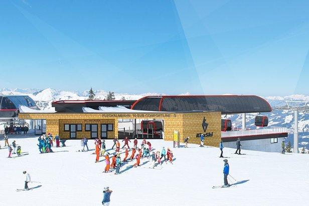 Výstupní stanice nové Fleckalmbahn v Kitzbühelu (vizualizace)