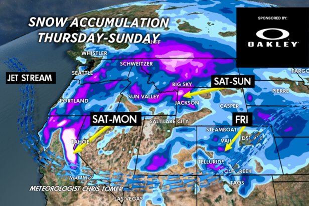 1-3 feet of snow for Tahoe and Mammoth by Monday.