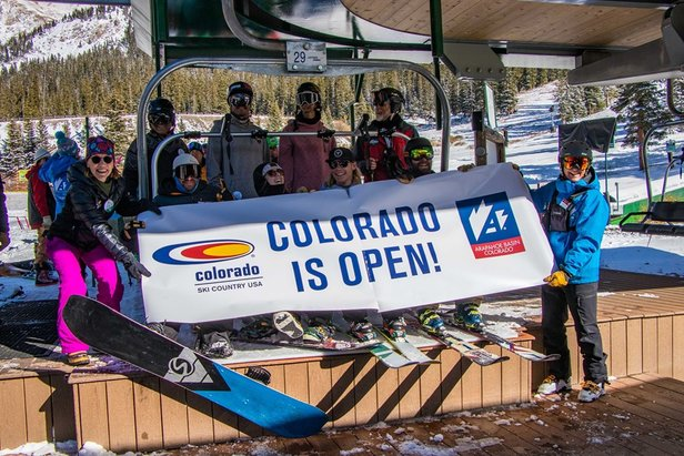 Excited skiers at A-Basin's opening day last Friday  - © Arapahoe Basin Ski Area/Facebook