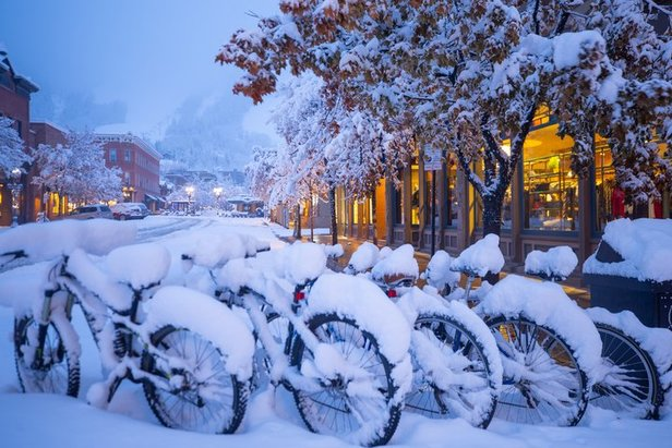 Fresh snow at sunrise in downtown Aspen