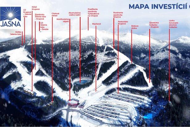 Mapa investic na Chopku