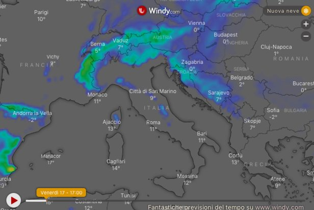 Meteo e Neve: situazione e previsioni fino al 19 GennaioWindy.com
