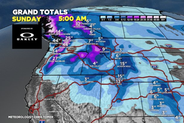 Up to 4 feet of snow is forecasted for resorts in the PNW.