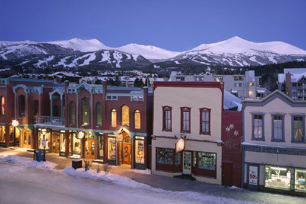 A view of the town of Breckenridge, Colorado at night