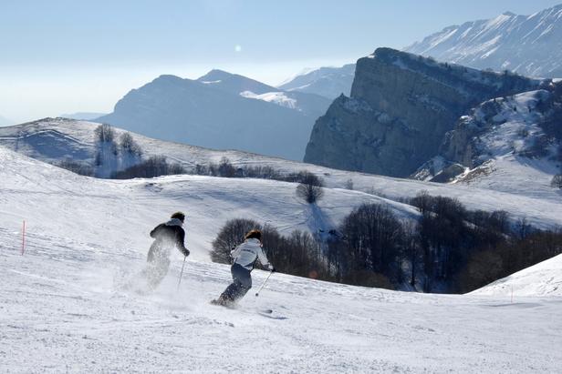 Skiers in Polsa San Valentino, Italy