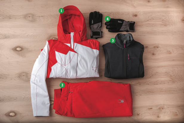Women's Outfit #2) 1) Spyder Breaker Jacket; 2) Spyder Circuit Athletic Fit; 3) Patagonia Piton Hybrid Jacket; 4) Dakine Odyssey Glove