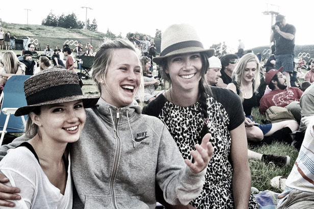 Meg hanging with supportive friends Clair Bidez and Ellery Hollingsworth.