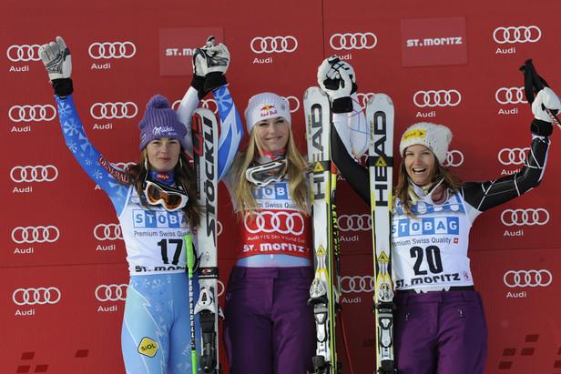 Podium super-g dames St Moritz 2012