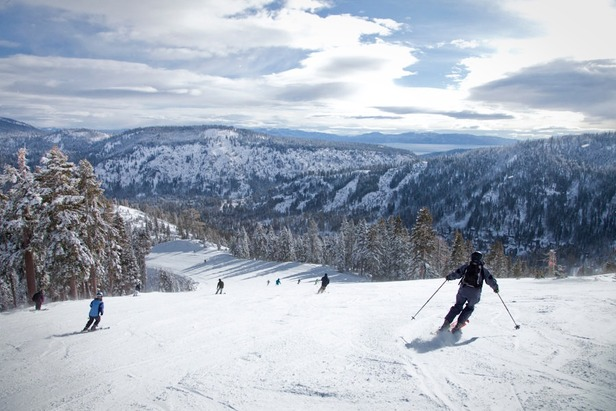 From the top of the Squaw Creek lift you can ski down for a view of the lake before enjoying untracked powder.