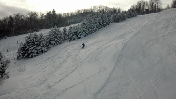 Fresh powder turns at Blackjack Ski Resort.