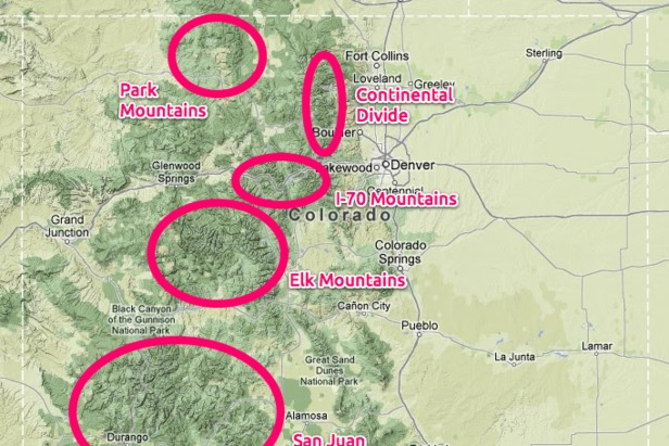 Colorado is comprised of many mountain ranges, and this complexity makes forecasting snow especially difficult.  - © Google Maps/OpenSnow.com