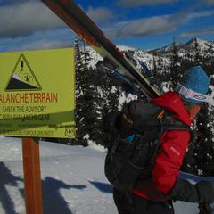Avalanche sign at Whitefish Mountain Resort - © Becky Lomax