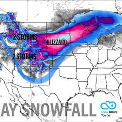 1-2 Foot Snow Totals by Tuesday: 4.11 Snow B4U Go - ©Meteorologist Chris Tomer