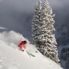 A lone skier enjoys fresh powder during the early morning hours at Snowbird, Utah. - ©Liam Doran